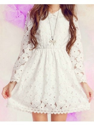 White Crochet Tea Dress with the long sleeves