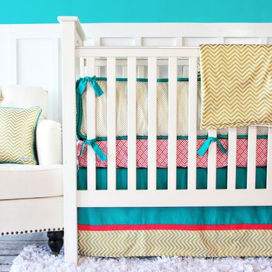 Gold Chevron, Teal, and Coral Bedding from Caden Lane