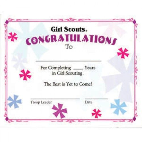 Girl Scout Awards Certificate Years In Scouting