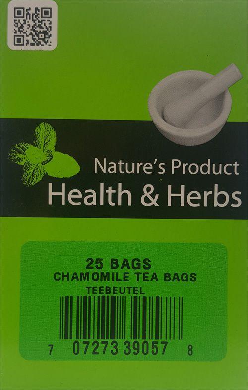Natures Products Health & Herbs Chamomile Tea Bags Teebeutel 25 Bags