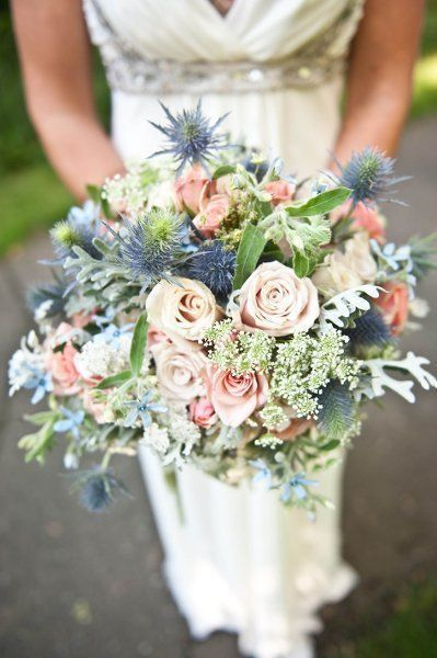 Wedding Bouquet with Blue EryngiumThistle, Blue Forget-Me-Nots, Pink, Coral, Cream, Ivory Roses, Queen Anne's Lace, Greenery/Foliage