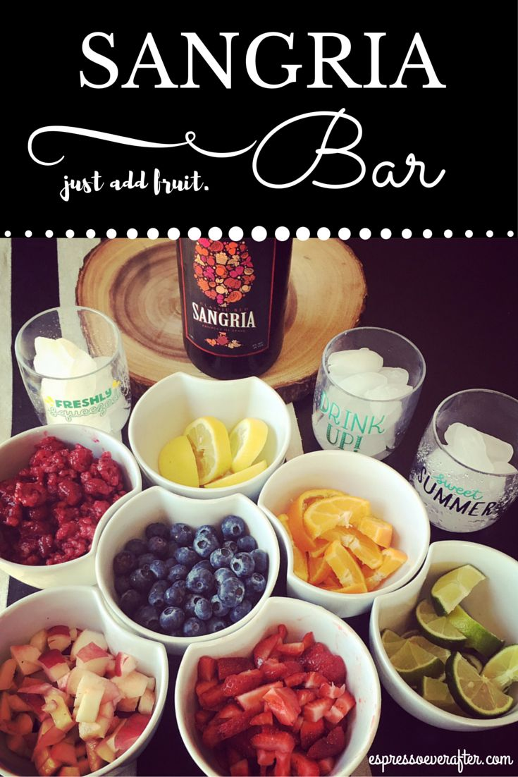 Sangria Bar ...  just in time for the weekend!  I love hosting gatherings at our home and the best way to start off a fun night of socializing with friends is with a fabulous drink! On the menu today is my Fruity Sangria Bar. Head on over to the BLOG for all of the fruity details!! http://espressoeverafter.com/2016/08/05/fruity-sangria-bar/
