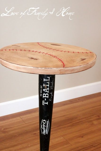 Vintage Baseball Table; I could try to make this & put it in our baseball room!