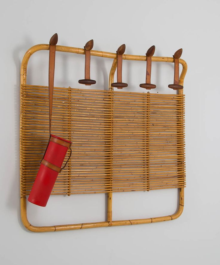 Vittorio Bonacina; Bamboo, Leather, Wood and Rattan Wall-Mounted Coat Rack with Umbrella Holder, 1970s.