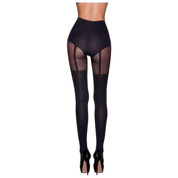 Women's Scarlet Kiss Designer Hype Faux Garter Opaque Hosiery Stocking... ($8.99) ❤ liked on Polyvore featuring intimates, hosiery, tights, black, lingerie, lingerie stockings, garter stockings, opaque stockings, garter tights and garter lingerie
