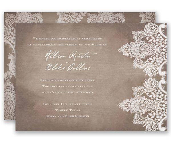 Vintage lace wedding invitation by david39s bridal a chic for Rustic wedding invitations david s bridal