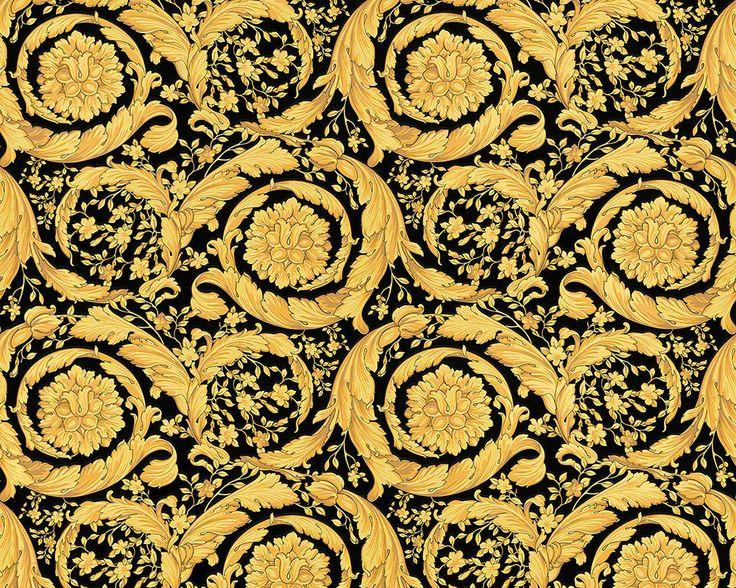 Versace Print Background   Versace Tapete in schwarz gold mit barockem Blumen Muster