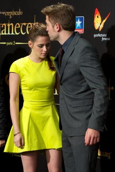 Actress Kristen Stewart and actor Robert Pattinson attend the 'The Twilight Saga: Breaking Dawn - Part 2' (La Saga Crepusculo: Amanecer Parte 2) premiere at the Kinepolis cinema on November 15, 2012 in Madrid, Spain.