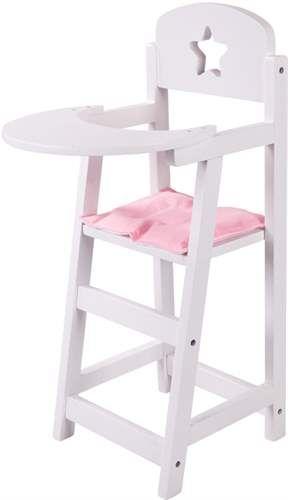 La dine dukker sitte ved bordet med stil. Denne hvite matstolen er produsert i tre med en liten sittepute og et stjernemotiv i ryggen. Puten er vendbar i forskjellige farger, rosa og hvit. Matstolen er i lakkert tre og står stødig