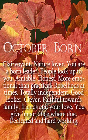 October Born...it's in the stars. :)
