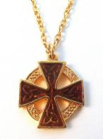 Vintage Enamel Celtic Cross Necklace.