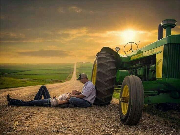 {Bride and Groom Pose} {Couples Pose} Country Love, Big Green Tractor, My Cowboy