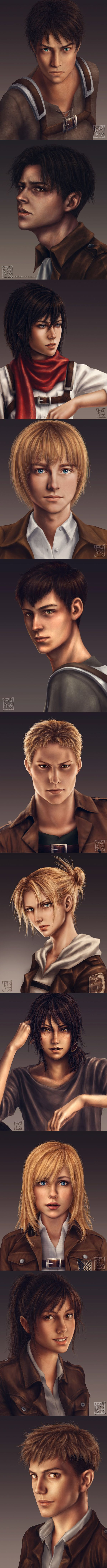 Realistic portraits of the SNK characters! So amazing!!!! I really love the Levi, Jean & Ymir one