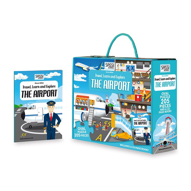 #Sassi Science: Travel, learn and explore - The Airport. A 205-pieces oval puzzle with  a 32-pages book. #eco #friendly #book #game