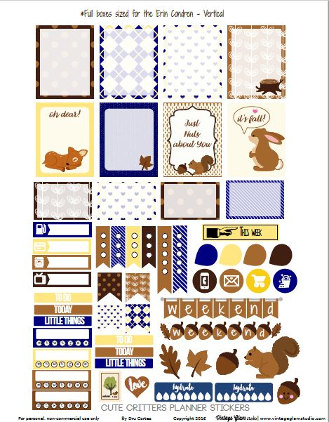 Free Cute Critters Planner Stickers | Vintage  Glam Studio