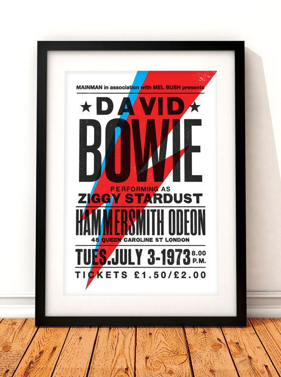 David Bowie concert poster David Bowie art print by TheIndoorType