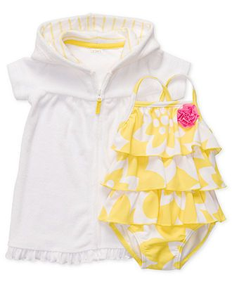 Carter's Baby Swimwear, Baby Girls One-Piece Ruffle Swimsuit with Hooded Cover-Up - Kids Newborn Shop - Macy's