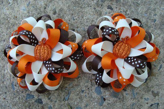 Fall Hair Bows Thanksgiving Hair Bows Pumkin Hair Bows Hair Clip via Etsy