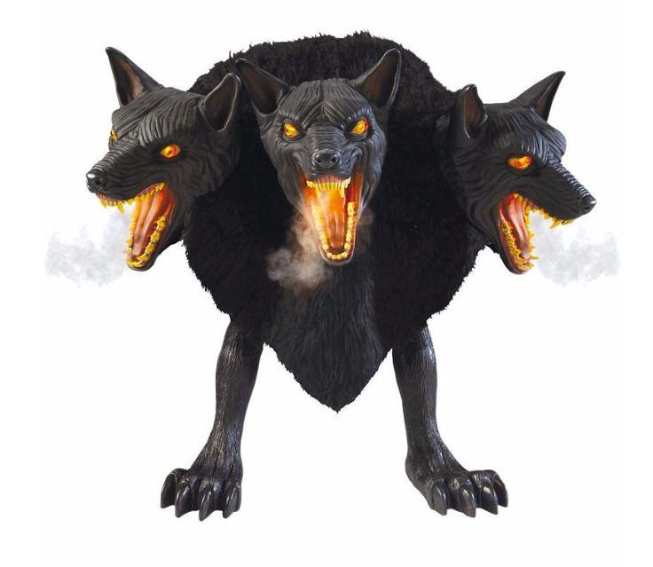 werewolf dog animated halloween prop cerberus dogs fangs fog 3 headed animal new