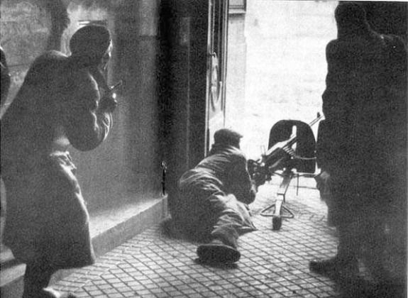 Hungarian Uprising 1956: Hungarian fighters battling Soviet armored troops in Budapest.