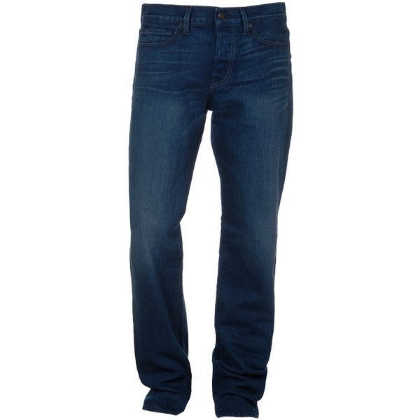 Seven For All Mankind Standard Bewa Blue Straight Leg Jeans ($270) ❤ liked on Polyvore featuring jeans, men, relaxed fit straight leg jeans, relaxed jeans, stitch's jeans, relaxed fit jeans and 7 for all mankind