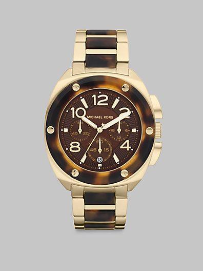 Michael Kors - Layton Tortoise-Look Bracelet Chronograph Watch - Saks.com