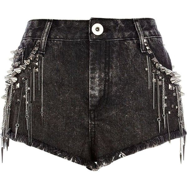 River Island Black studded chain denim shorts ($38) ❤ liked on Polyvore featuring shorts, bottoms, short, pants, jeans, short shorts, distressed jean shorts, jean shorts, ripped jean shorts and denim shorts