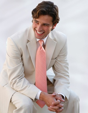 i like tan suits but i'm loving this cream suit with the blush tie<3