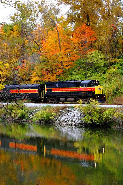 Cuyahoga Valley Scenic Railroad. I am on this train all the time during the summer Cleveland to Akron is 26 miles. Ride the train for 2 bucks then ride the trail home