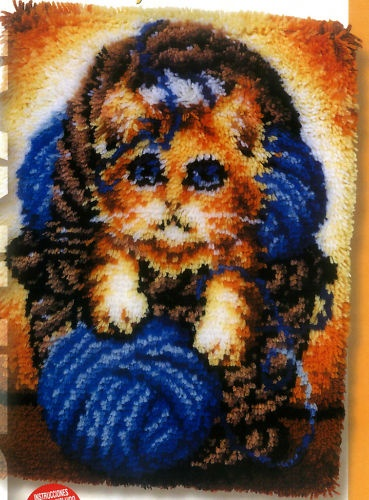Bernat Kitty In A Basket Latch Hook Rug Pattern Only No Yarn Or Canvas Included