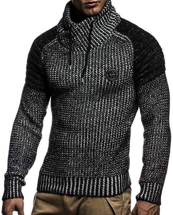 LEIF NELSON Men s Pullover Hoodie Knit Sweater Hooded Pullover Sweatshirt  Longsleeve Sweater LN5310  Size S, Anthracite Black  Amazon.co.uk  Clothing 71c71113d9