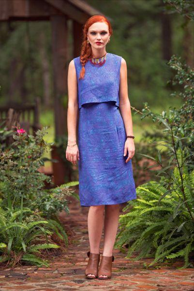 Midnight Bloom Batik Dress