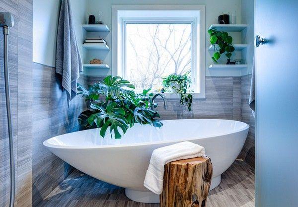 Комнатные растения  Некоторые влаголюбивые комнатные растения вполне могут прижиться в ванной комнате, особенно если там есть хотя бы небольшое окно. Один-два горшка с живой зеленью придадут ванной уютный, жилой вид, а, кроме того, станут неплохим дополнением интерьера в эко-стиле.  Смотрите оригинал материала на http://ideas.vdolevke.ru/posts/22485/neskolko-detaley-kotoryy-iz-obychnoy-vannoy-sdelaiut-neobychnuiu/