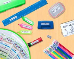 There is a label for everything out there! find it all here http://labels4school.co.uk/order-your-labels-online