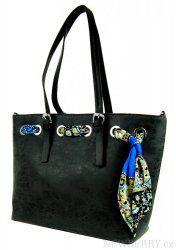 Černá kabelka na rameno se stylovým šátkem 655-BB