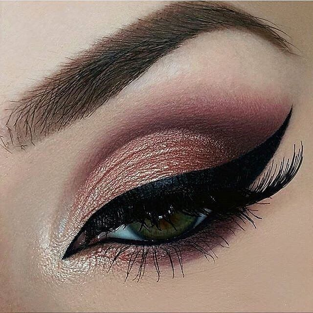 Gorgeous deep maroon and gold eye look.