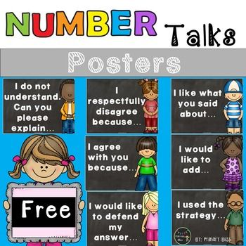 This FREE product contains 7 adorable Number Talks Posters for you to hang up in your classroom.  These posters are to be used to teach your students to respectfully engage in mathematical discourse with their peers.  We hope you find these posters to be helpful to you as you engage your students in Number Talks!Primary Bliss++++++++++++++++++++++++++++++++++++++++++++++++Other Products You Might Be Interested InNumber Talks for Grades K - 5Numberless Word ProblemsNumbers to 120Make a Ten…