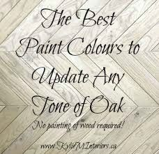 The best Benjamin Moore and Sherwin Williams paint colours to go with and update any tone of oak and wood including red, yellow, orange, pink, dark, light and more. Great ideas and inspiration!