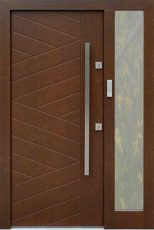 Drzwi zewnętrzne z doświetlem dostawką boczną  z szybą  model 430,14 w kolorze orzech