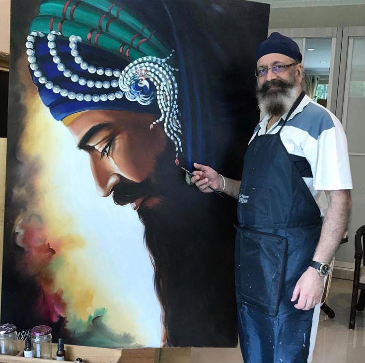 blown away by this beautiful & massive Guru Gobind Singh Ji inspired masterpiece oil painting by @amsimeetart Dr. M. S. Hunjin. #legendstatus
