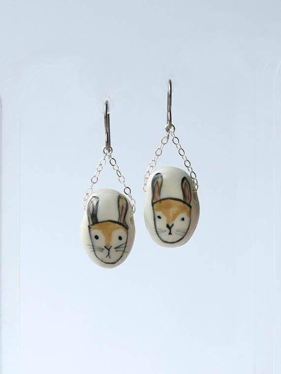 porcelain hare earrings by HandmadeEarringsUK on Etsy