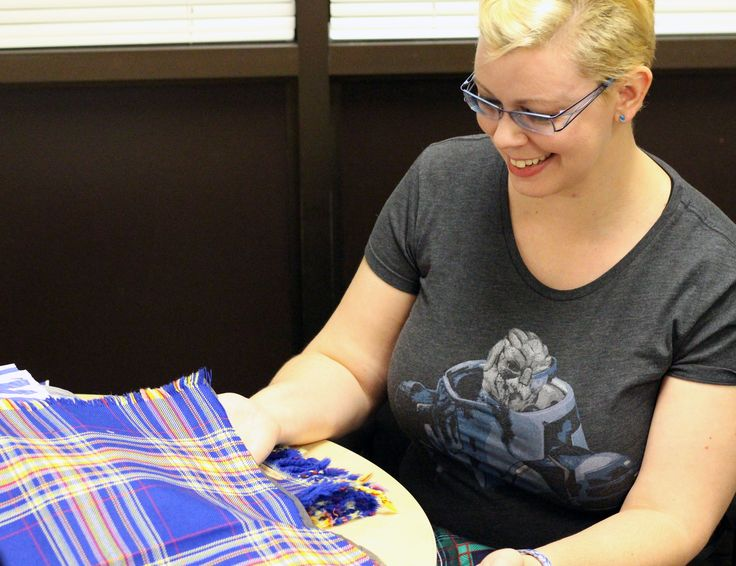 Sarah Hilliard (BA '10) see her tartan design come to life for the very first time.