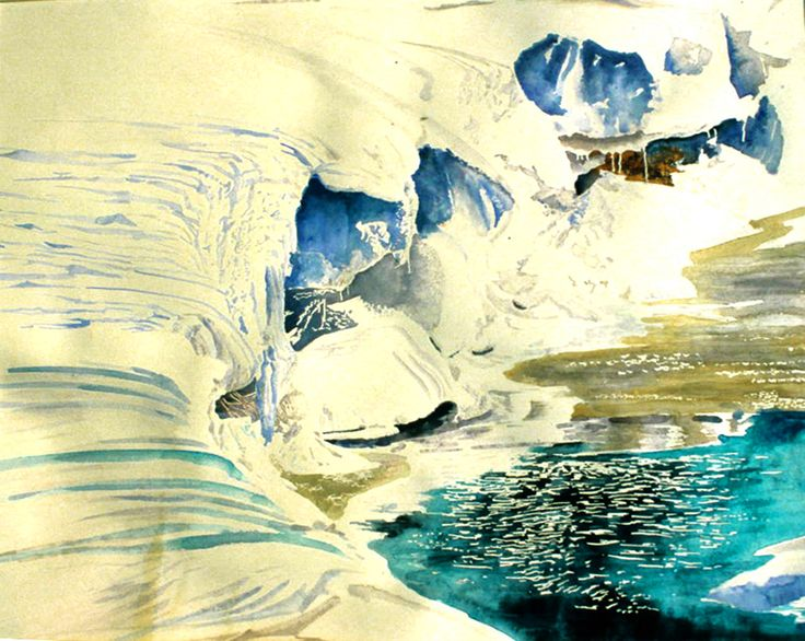 """iced up streambank 20"""" x 22""""  micheal zarowsky watercolour on arches paper"""