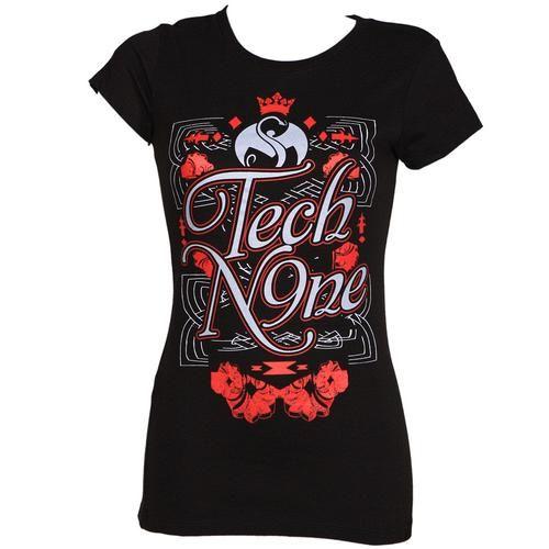 "Tech N9ne - Ladies Black Floral T-Shirt  (Back) ""Strange Music"""