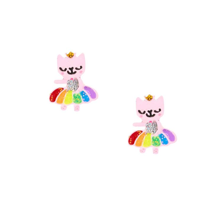 Claire/'s Girl/'s Rainbow Rose Caticorn Stud Earrings Set 3 Pack