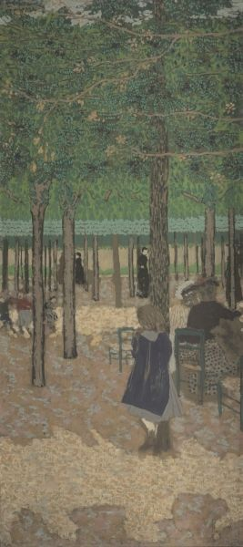 """""""Under the Trees (from """"The Public Gardens""""), by Edouard Vuillard. 1894, distemper on canvas. In the collection of The Cleveland (OH) Museum of Art. This canvas is one of nine panels that originally formed a cycle titled """"The Public Gardens"""". Alexandre Natanson commissioned the cycle to decorate the living room of his Paris townhouse. Vuillard painted this series in distemper- a glue-based medium more commonly used for theater sets, which produces matte surfaces and flat, decorative forms."""