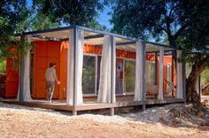 Built from a 40-foot shipping container, the Nomad Living guest house has 320 ft2 (29.7 m2) of floor space. Except for the bathroom at one e...