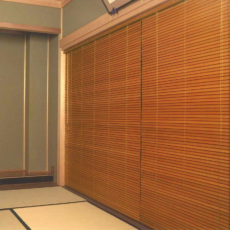ウッドブラインド 桐製木製ブラインド・ 羽根幅35ミリ サイズ ... 桐ウッドブラインド:ライトオーク