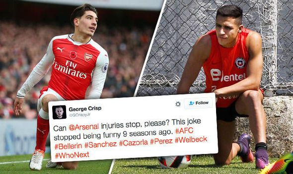 Here we go again! Arsenal fans despair on Twitter as injured duo set to miss Man Utd clash   via Arsenal FC - Latest news gossip and videos http://www.express.co.uk/sport/football/731075/Hector-Bellerin-Alexis-Sanchez-injury-Arsenal-Twitter-reacts-sportgalleries  Arsenal FC - Latest news gossip and videos IFTTT