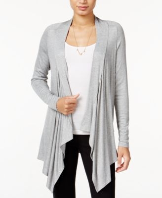 Keep the chill out and add instant style to any look with this draped cardigan from Bar Iii. | Polyester/spandex | Machine washable | Made in USA | Shawl collar | Open front; no closures  | Long sleev